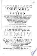 Vocabulario portuguez, e latino ...